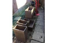 Set of 6 large terracotta garden plant pots