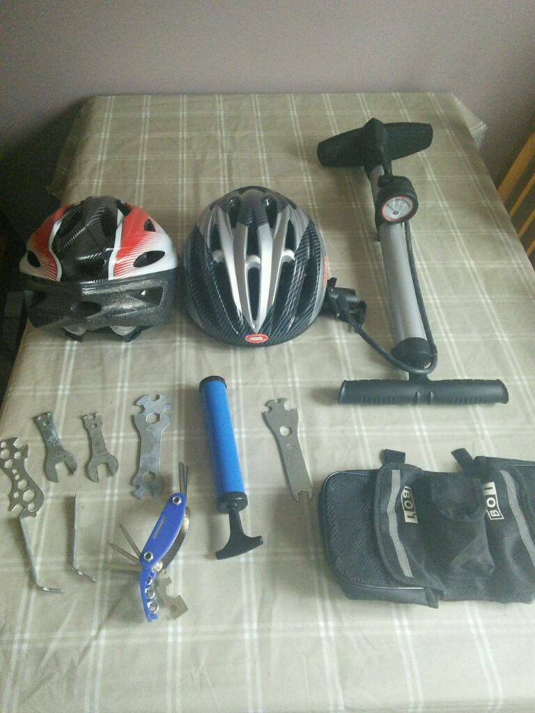 168bd2af663 Bike accessories, helmets, tools, pumps, carrying bag to attach to bike ...