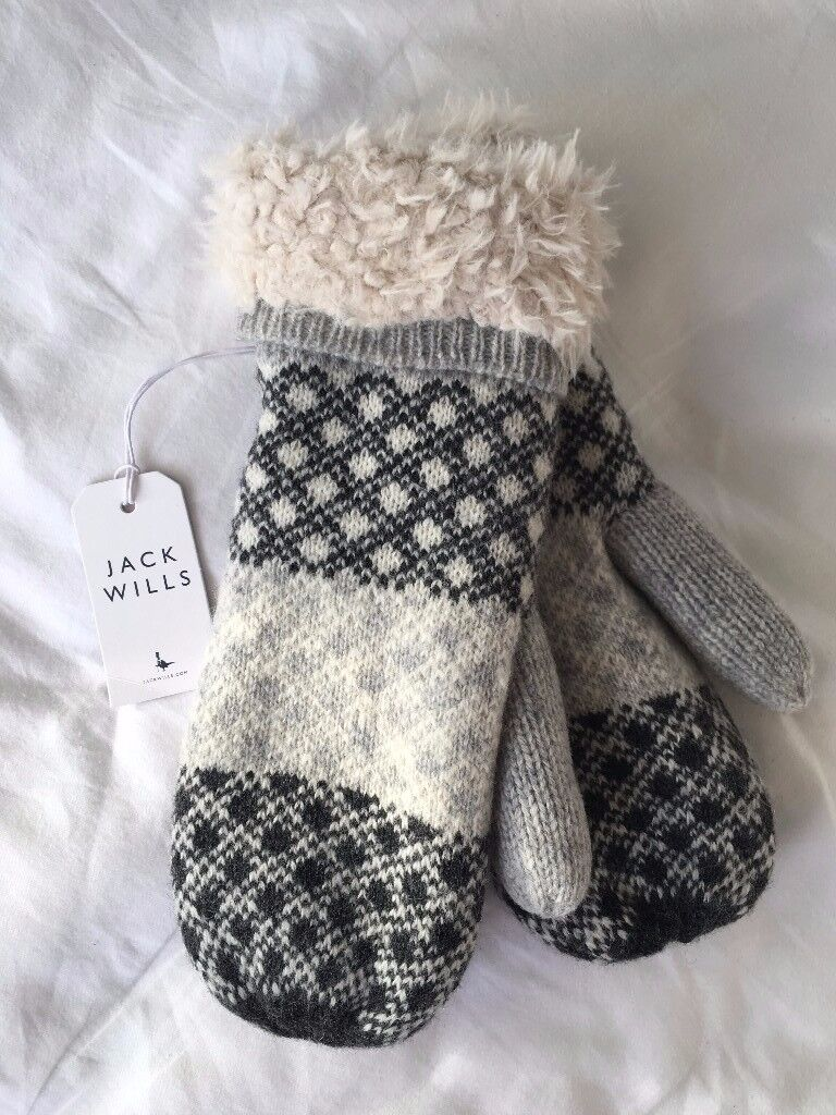 New with Tags - Jack Willis Mittens - grey and white