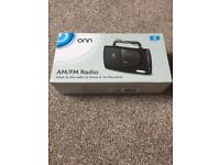 Onn am/fm radio still in box