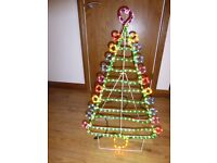 Multicoloured tree rope light silhouette 90 cm