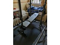 Olympic Barbell 7ft, Olympic weights, multi-purpose bench, cross trainer