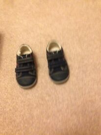 Clarks boys first shoes navy aeroplane design size UK 3.5F brand new