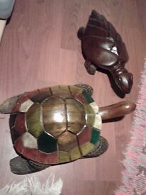 TORTOISE & TURTLE (CARVED WOOD) £10 each, or £15 the pair. NO TEXTS PLEASE.