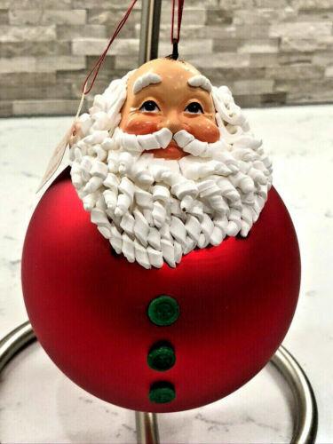 Vtg Dept 56 Mercury Santa Ball Ornament #7722-4 w/Box Darling!!