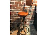 2x Brand New Industrial Pedal bar stool with back rest. £170 each