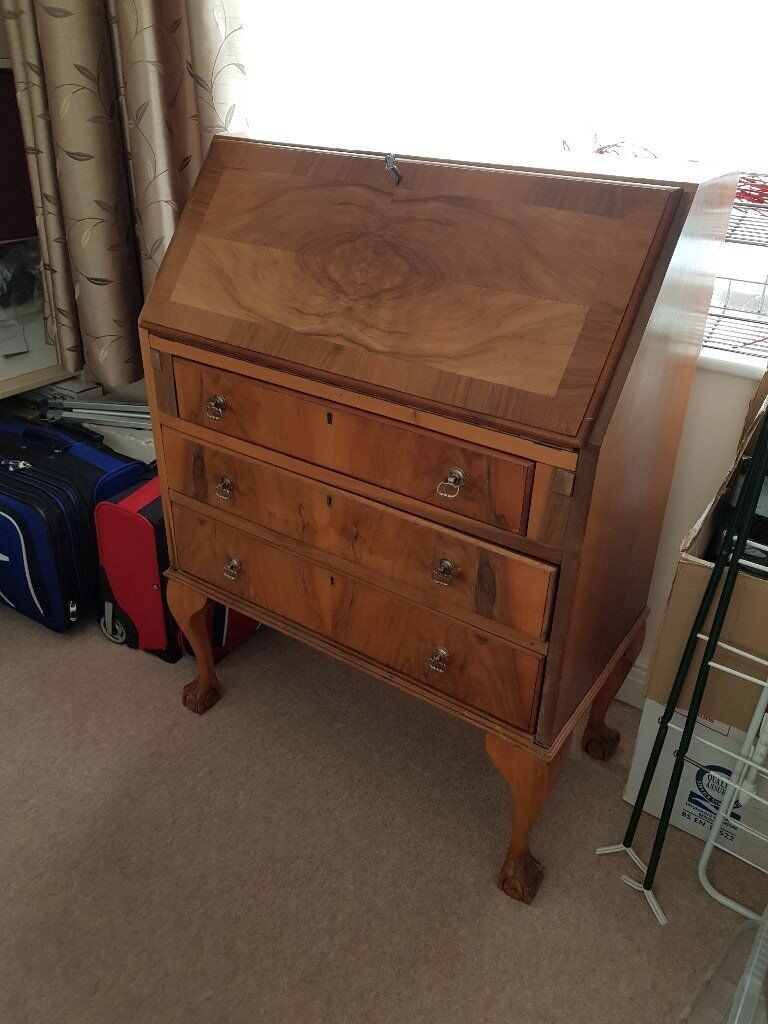 Walnut Veneer Writing Desk With Drawers C 1930