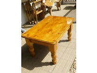 Robust Pine Coffee Table wth Glass Top Repolished and in fine condition