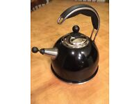 AGA stainless steel whistling kettle in Black in excellent condition