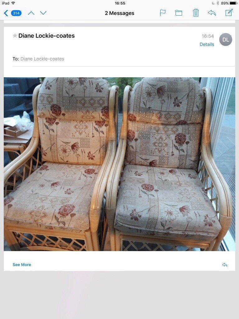 Two conservatory chairs and table