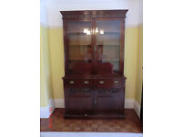 BOOKCASE WITH GLAZED DOORS OVER CUPBOARD - EDWARDIAN.