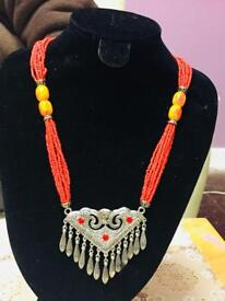 Beautiful red small and orange beads ladies necklace