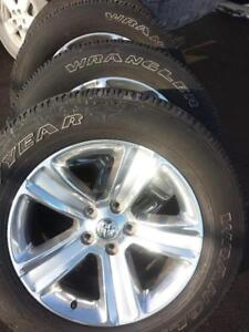 2015 DODGE RAM 1500   20  INCH  ALLOY   WHEELS WITH HIGH PERFORMANCE GOODYEAR WRANGLER SRA 275 / 60 / 20  ALL SEASONS