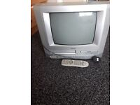 silver tv with built in video and dvd