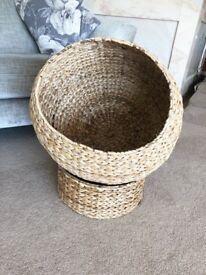 Wicker globe cat bed with stand