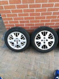 195/55/15 TYRES x4 ALMOST BRAND NEW SITTING ON ROVER ALLOY WHEELS