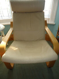 IKEA Poang Chair with 'Eggshell' leather seat cushion. In good condition. No marks.