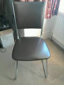 1970's Retro Chrome and Faux Brown Leather Chair