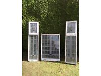 Three leaded glass windows old but in sound frame