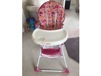 Baby girls pink high chair