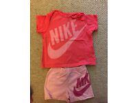 Girls Nike shorts and tshirt matching set age 9-12 Months