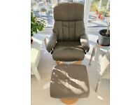 Bonded leather 'Bjorn' recliner chair and stool
