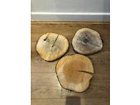 3x decorative log slice wedding events table decoration