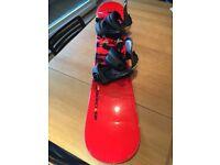 Nidecker 145cm dragon print snowboard with bindings and stomp pad, Swiss made