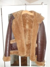 Fur Lined leather flying jacket. size UK 42. Worn once. As new.