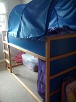 IKEA loft bed with tent