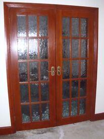DOORS - LIVING ROOM GLAZED PANEL DOORS x2 with HANDLES - EXCELLENT CONDITION