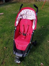 Pink petite star zia 2 compact lightweight pram/pushchair/stroller
