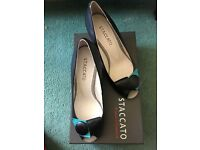 Peep toe wedges...new in box, black with coloured wedge, size 5