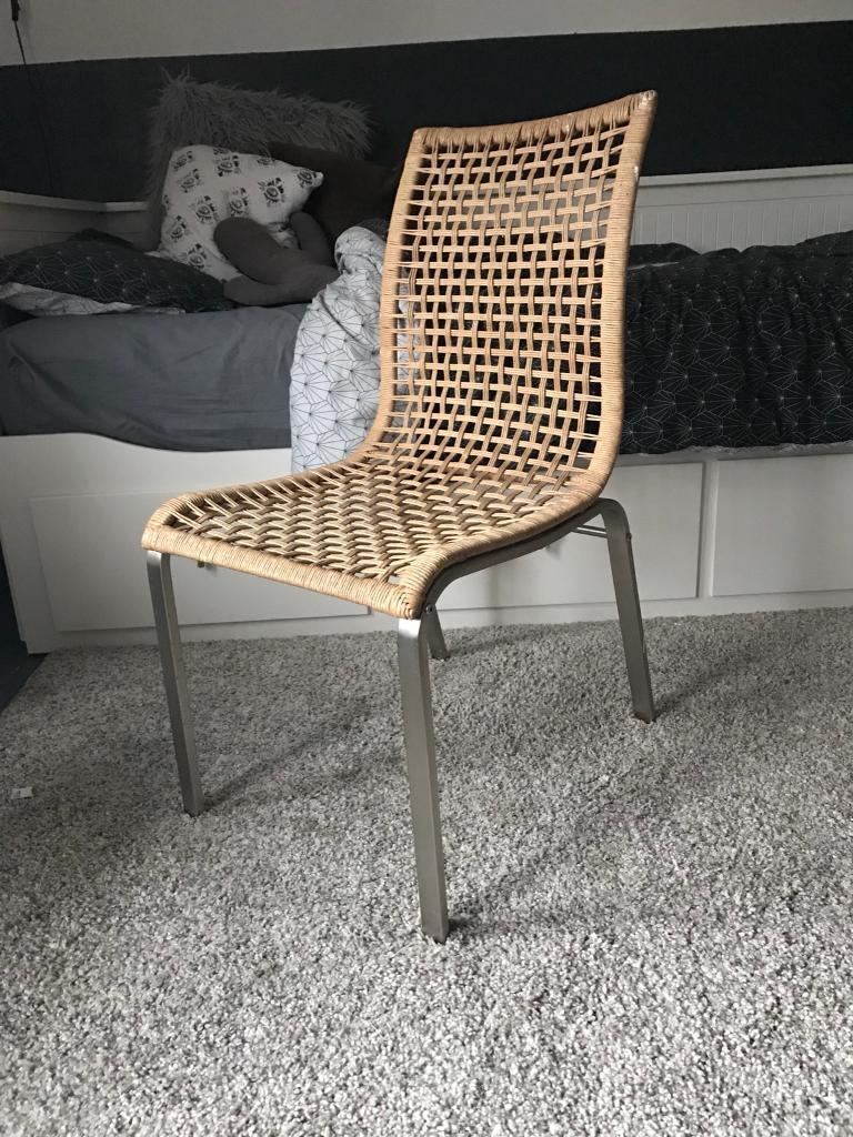 Ikea Woven Rattan Wicker Dining Chair Metal Legs In