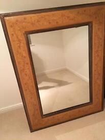Large wooden ornamental mirror
