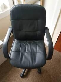 Black leather adjustable desk chair
