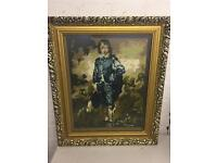Vintage framed tapestry boy in blue Completed