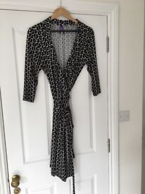 Seraphine black and white maternity wrap dress size 14