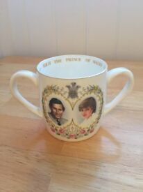 Prince Charles and Lady Diana Wedding Cup, relatively rare cup with two handles