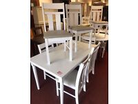 White Table and 6 White Grey Leather seat chairs