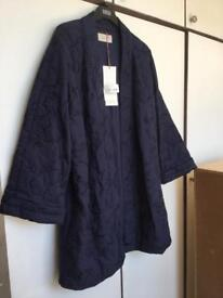 M&S Per Una Embellished / Beads Ladies Coat, Size 16, Navy Blue- Brand New