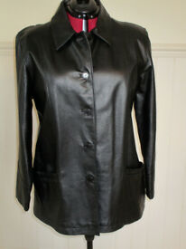 Lady's 3/4 black Milan leather jacket size 20