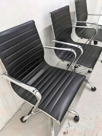 FREE SAME DAY DELIVERY - Black Leather Effect Swivel Office Chair