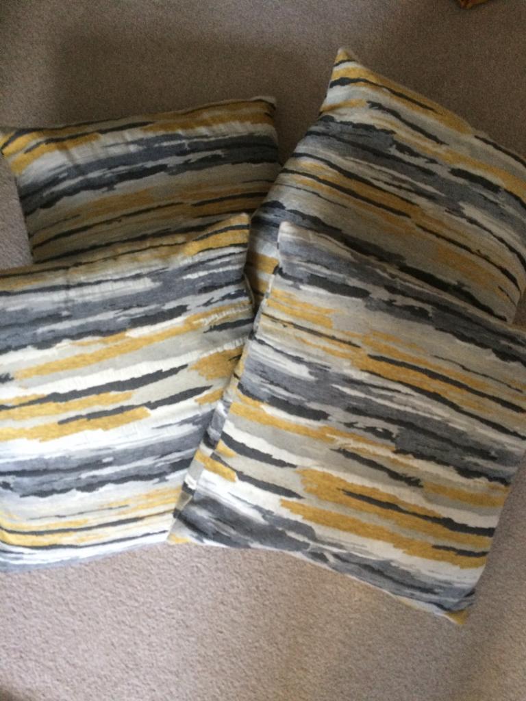 X4 Grey, White and yellow cushions (Matalan)