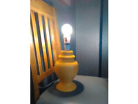 Mustard Yellow New Table Lamp. Base.Ceramic.CE. Hall Lamp.No shade.Present.Bright.Round.Med/Large./