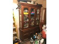 Large solid wood and glass dresser/display cabinet