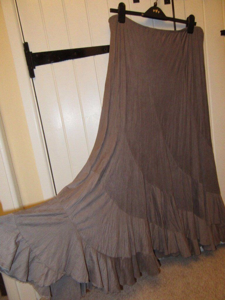 Per Una crinkle faux suede skirt size 16 Maxi gypsy pirate steampunk WORN ONCE