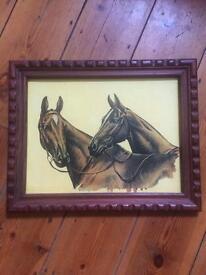 Vintage wooden framed horse picture
