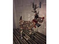 Stunning brown rattan light up comical reindeer, new