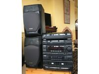 AIWA Stereo Unit for Tape Cassettes, 45/33 Records; CD's and Karaoke, with Echo and Speakers